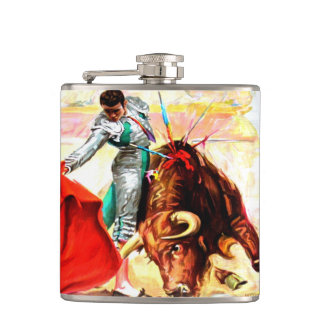 Vintage Bull Fight Bullfight Mexico Poster Art Hip Flask