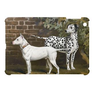 Vintage bull terrier y arte dálmata del perro