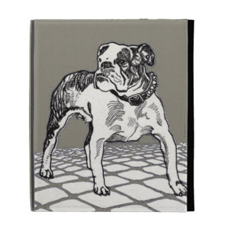 Vintage Bulldog in Black and Tan iPad Case