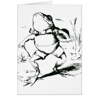 Vintage Bullfrog With Top Hat and Cane Drawing Card