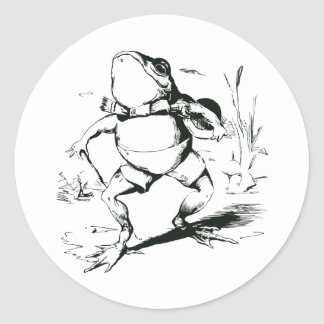 Vintage Bullfrog With Top Hat and Cane Drawing Classic Round Sticker
