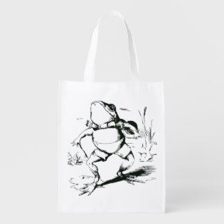 Vintage Bullfrog With Top Hat and Cane Drawing Grocery Bags