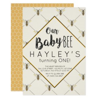 Vintage Bumble Bee Baby Bee 1st Birthday Invitation