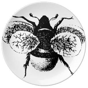 Line Art Bee : Vintage queen bee plates zazzle