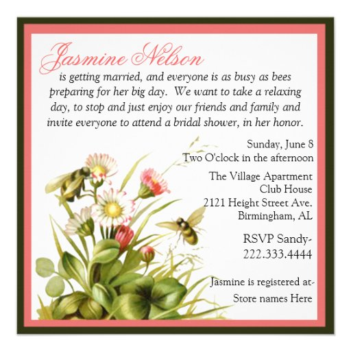 Vintage Bumble Bees Bridal Shower Invitation from Zazzle.com