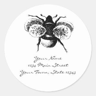 Vintage Bumblebee Classic Round Sticker