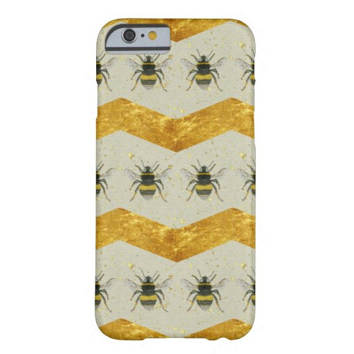 Vintage Bumblebee & Gold Chevron iPhone 6 Case