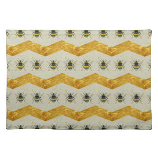 Vintage Bumblebee & Gold Chevron Placemat