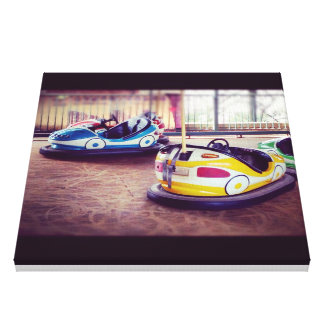Vintage Bumper Car 2 cars postcard Canvas Print