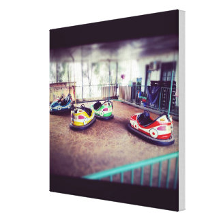 Vintage bumper car ride canvas print
