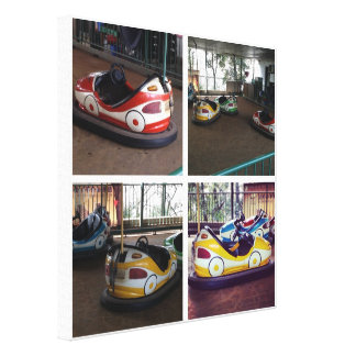 Vintage bumper cars 4 pics in one canvas print