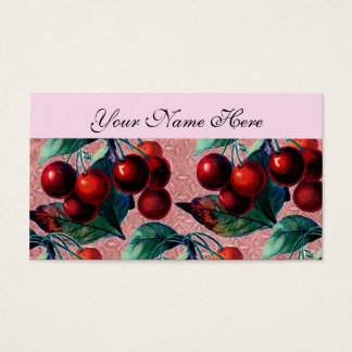 Vintage Bunch of Red Cherries Antique Fruit Design Business Card