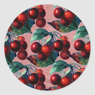 Vintage Bunch of Red Cherries Antique Fruit Design Classic Round Sticker