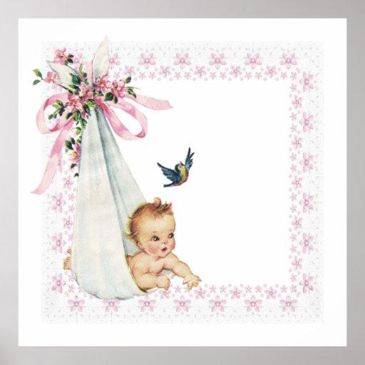Vintage Bundle of Joy Pink Baby Girl Posters