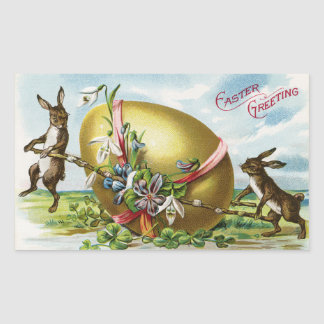Vintage Bunnies and Easter Egg Rectangle Stickers