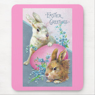 Vintage Bunnies and Giant Pink Egg Mouse Pad