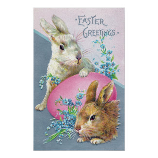Vintage Bunnies and Giant Pink Egg Posters