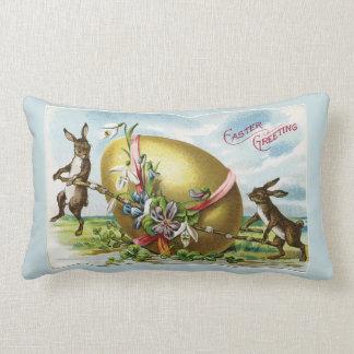 Vintage Bunnies and Golden Egg Blue Lumbar Pillow