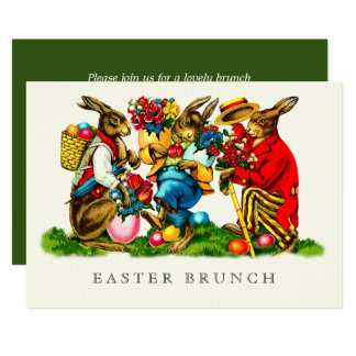 Vintage Bunnies Custom Easter Brunch Invitations