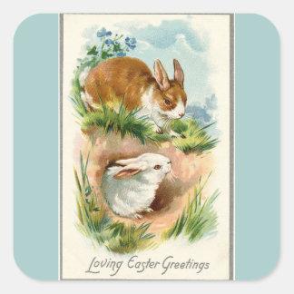Vintage Bunnies Loving Easter Blue Square Sticker