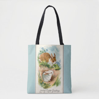 Vintage Bunnies Loving Easter Blue Tote Bag