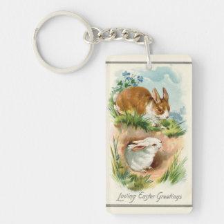 Vintage Bunnies Loving Easter Keychain