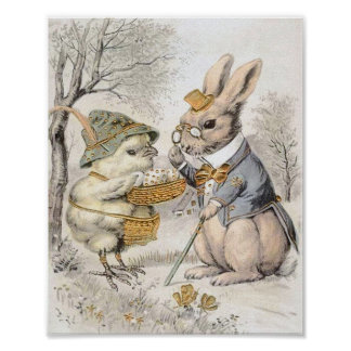 Vintage Bunny and Chick Poster