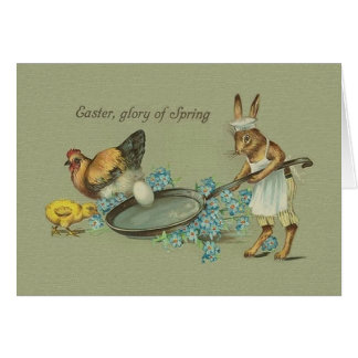 Vintage Bunny And Chicken Easter Greeting Card