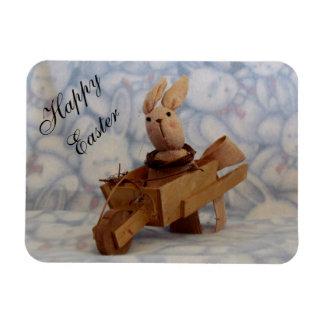 Vintage Bunny Cart Easter Magnet