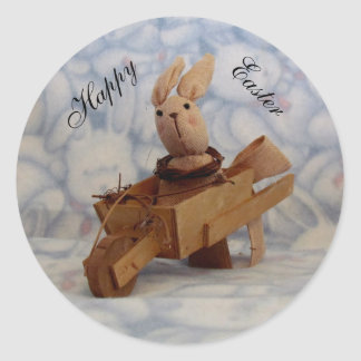 Vintage Bunny Cart Easter Stickers