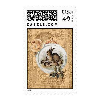 Vintage Bunny Collage Postage Stamp