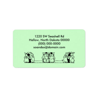 Vintage Bunny Council Address Label