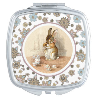 Vintage Bunny Easter Gift Compact Mirror