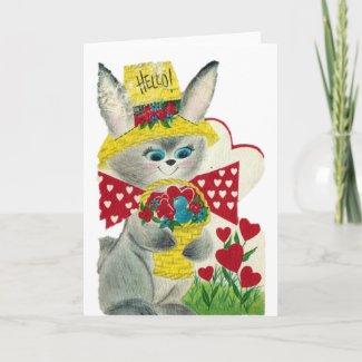 Vintage Bunny Hello card