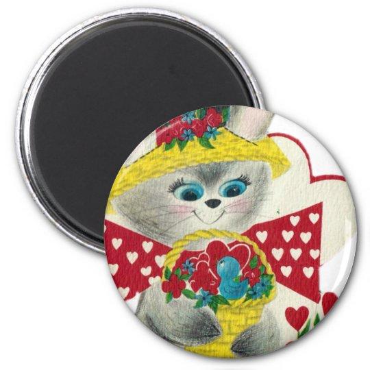 Vintage Bunny Hello Magnet