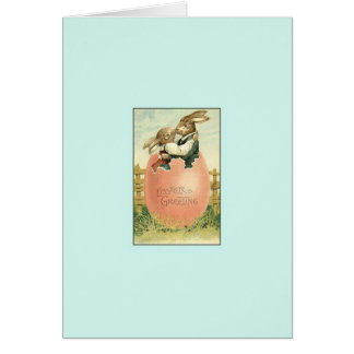 Vintage Bunny Kiss Romance Easter Greeting Card
