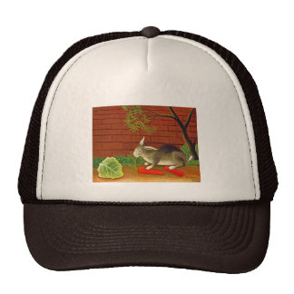 Vintage Bunny Rabbit Art Painting Mesh Hats