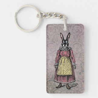 Vintage Bunny Rabbit in Dress w/Apron Illustration Double-Sided Rectangular Acrylic Keychain