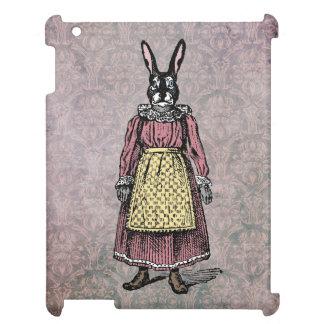 Vintage Bunny Rabbit in Dress w/Apron Illustration iPad Covers