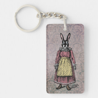 Vintage Bunny Rabbit in Dress w/Apron Illustration Single-Sided Rectangular Acrylic Keychain