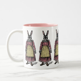 Vintage Bunny Rabbit in Dress w/Apron Illustration Two-Tone Coffee Mug