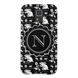 Vintage Bunny Rabbit Monogram Black and White Case For Galaxy S5