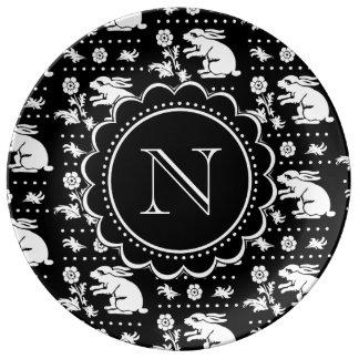 Vintage Bunny Rabbit Monogram Black and White Porcelain Plates