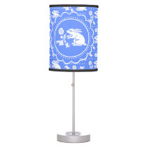 Vintage Bunny Rabbit with Flower Blue and White Desk Lamp