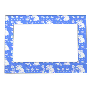 Vintage Bunny Rabbit with Flower Blue and White Magnetic Photo Frame