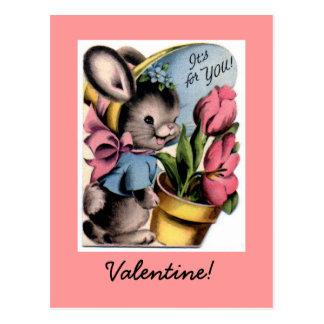 Vintage Bunny Valentine Postcard