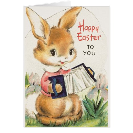 Vintage Bunny with Accordion Easter Card