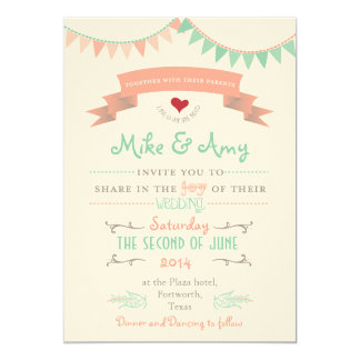 Vintage Bunting Whimsical Wedding Invitation