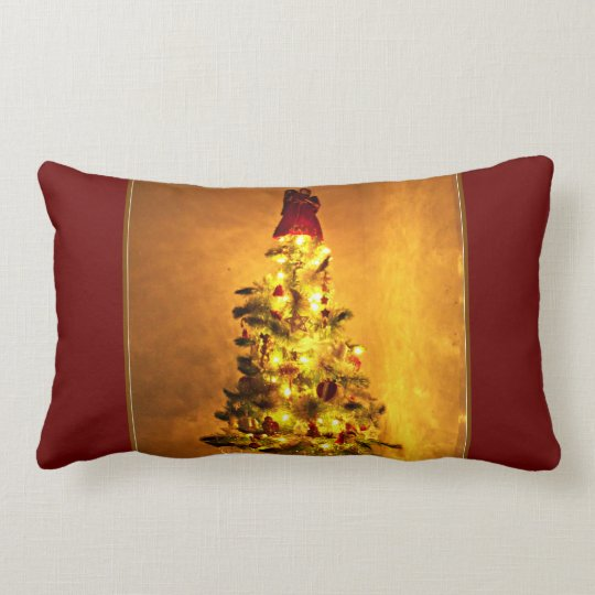 Vintage Burgundy And Gold Christmas Tree Pillow Zazzle Com