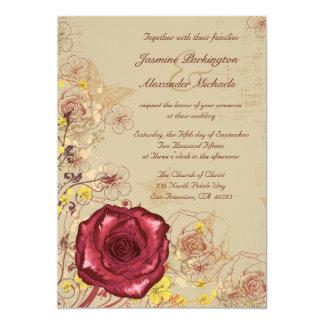 Vintage burgundy rose floral wedding invitation